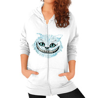 Cheshire Cat blue Zip Hoodie (on woman)