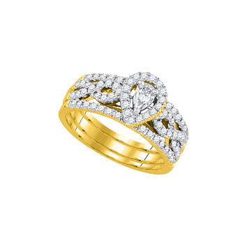 14kt Yellow Gold Womens Pear Diamond Entwined Bridal Wedding Engagement Ring Band Set 7/8 Cttw 92917