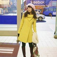 Wholesale Hot Sale Popular Shining Color Buttons Long Coat Yellow