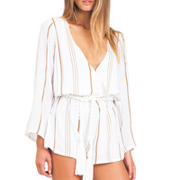 Faithfull the Brand Vision playsuit in jetset stripe taupe