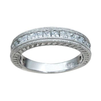 Plutus Brands 925 Sterling Silver Wedding Band 1.5 Carat Weight- Size 7
