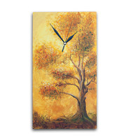 Art WALL CLOCK, Unique wall clock, orange clock, Wood wall clock, tree home decor, tree painting