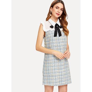 Frill Trim Tie Neck Plaid Dress