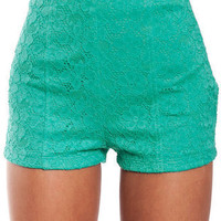 Erin High-Waisted Lace Shorts in Spearmint :: tobi