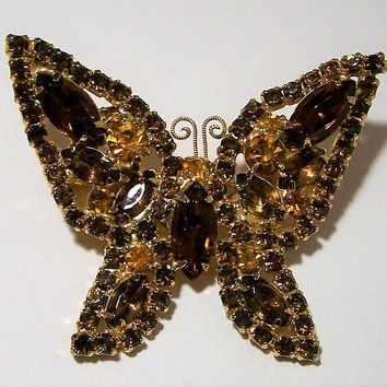 Weiss Topaz Rhinestone Butterfly Pin, Gold Tone Figural Brooch, Glass Stone Brooch, Mid Century Vintage Jewelry, Costume Jewellery 1017