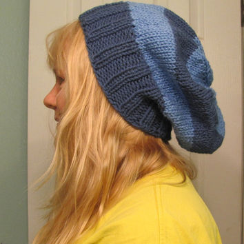 Hand Knit Two Blue's Super Slouch Hat  Unisex Over Sized Beanie Rasta Hat
