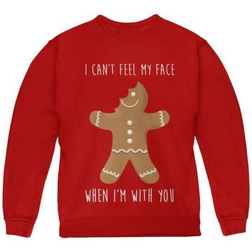 DCCKU3R Christmas Gingerbread Man Can't Feel My Face Youth Sweatshirt
