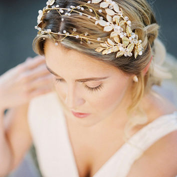 Gilded gold leaves triple headband, gold metal hair vine, silver headpiece, garden bridal tiara, bridal headpiece, Grecian beaded crown