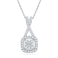 1/4 CT. T.W. Diamond Square Cluster Pendant in 10K White Gold