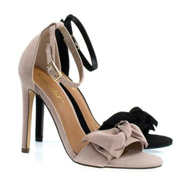 Bow1 Blush Beige By Bonnibel, High Heel Sandal W Oversized Bow Ornamentation, Women's Evening Shoes