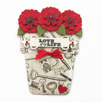 Valentines Day Flower Pot Card, Antique Lock and Key, Love of My Life, Red Flowers, Love Card