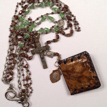 Vintage Necklace Assemblage  Vintage Our Lady of Pompeii Pocket Icon Souvenir in Leather Case and Rosaries, Medals