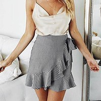 2 colors Bow Women Skirts Female Casual Sexy High Waist Skirts Stripe Beach Ruffle Mini Skirt