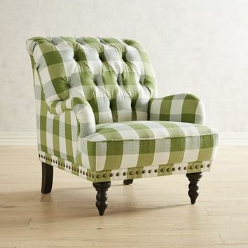 Chas Green Plaid Chair