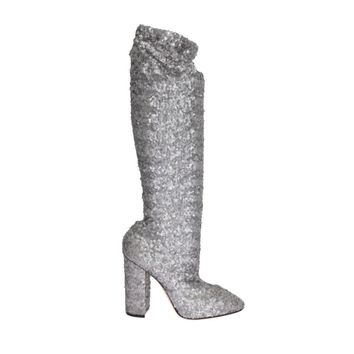 Dolce & Gabbana Silver Sequined Leather Boots
