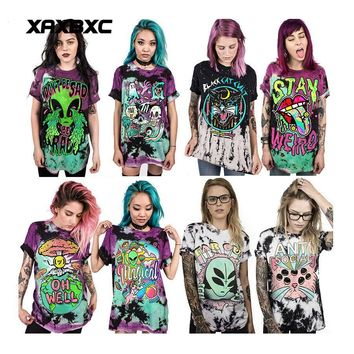 Skull Skulls Halloween Fall 2018 Summer Harajuku Rock Alien UFO Tie Dye  3D Printed Unisex Short Sleeve Loose Men T Shirt Tops Vest Tees Women T-shirt Calavera
