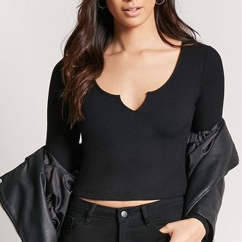 Ribbed Knit Split-Neck Crop Top - Women - Tops - Cropped - 2000243215 - Forever 21 Canada English