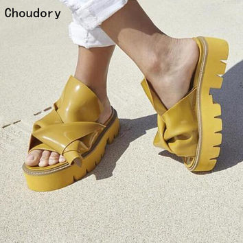 2017 Hot Fashion Women Rubber Bow Slide Sandals Open Toe Knot High Platform Slippers Shoes  Luxury Runway Mules Yellow Pink Blue