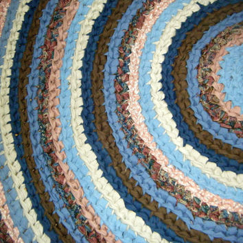 Handmade Beautiful Blue 4 Foot Round Rug   For Etsy