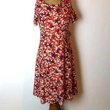 Vintage original 1970s orange and purple floral nylon midi dress