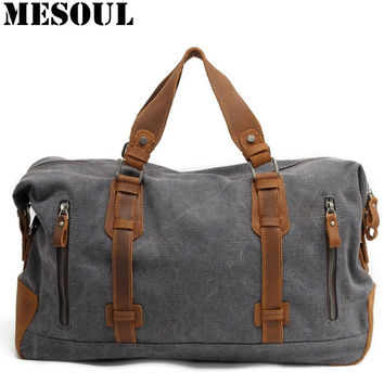 2016 New Oversized Canvas Leather Trim Travel Tote Duffel Bags shoulder handbag Weekend Bag Vintage Military Army Green Men Bags