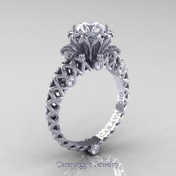 Caravaggio Lace 14K White Gold 1.0 Ct White Sapphire Diamond Engagement Ring R634-14KWGDWS