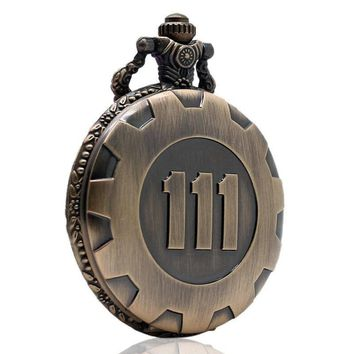 Bronze Pocket Watch Fallout 4 Vault 111 Electronic Games Necklace Chain Pendant