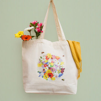 Flowers and Bee Organic Cotton Tote Shopping Bag