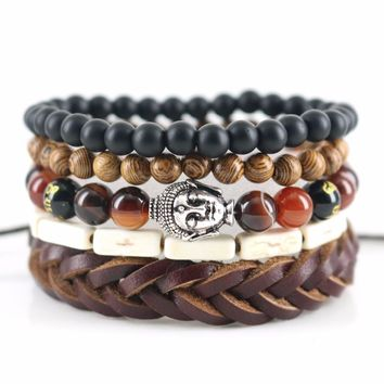 Beasivor Dark Red Striated Smooth Onyx Stones Wooden Beaded Pack Gautama Buddha Bracelets Leather Wrap Men Trendy Jewelry