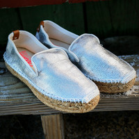 White Sunday Islands Metallic Silver Espadrilles
