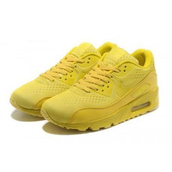 Men s Women s Nike Air Max 90 PRM EM All Yellow Running Shoes