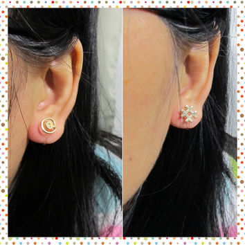 Tiny Stud Clip on Earring, C40s, IT Computer @# at Hashtag Number Sign Symbol, Gold plated non pierced earring, simple Everyday clip on stud
