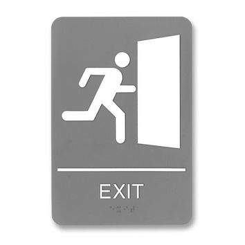 "u.s. stamp & sign ada sign, ""exit"", adhesive, 6""x9"", white/gray Case of 3"
