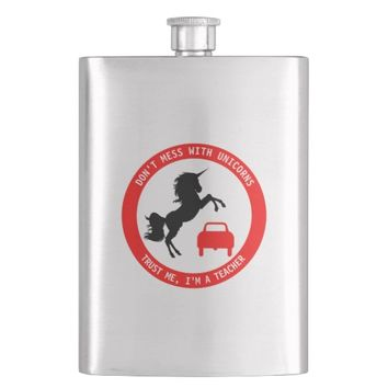 Funny Teacher With Unicorn And Traffic Sign Hip Flask