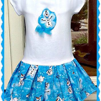 girls frozen Applique Olaf Disney fabric graphic party Dress sizes 18 months 24 months 3t 4t 5t 6/6X 7/8 10/12 and 14/16