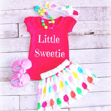 Little Sweetie Outfit, Girls Summer Clothes, Girls Cotton Candy Outfit, Cotton Candy Birthday Outfit, Girls Skirt, Sister Outfit
