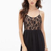 FOREVER 21 Floral Lace Cami Dress Black/Nude