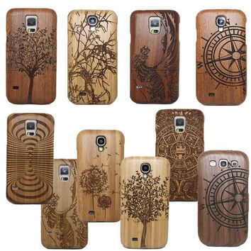 Classic Retro Mayan Pattern Bamboo Wood Carving Phone Case For Samsung Galaxy S6 Edge S7 Plus S4 MINI S5 MINI NOTE 4 S4 S5 Neo
