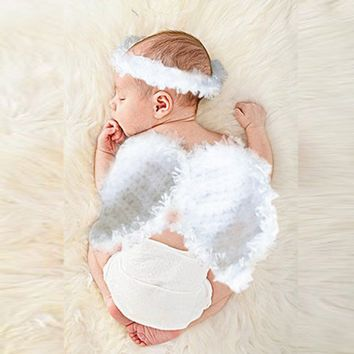 Newborn Baby Boy Girl Angel Wings Crochet Knit Costume Photo Props Hat Outfits