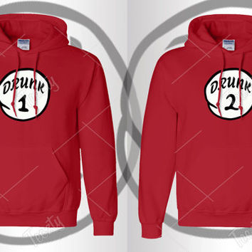 Drunk 1 Drunk 2 Hoodie Hoodies Sexy Drunk Bro Trouble Thing Series Sweatshirts Sweatshirt Tank tops T-shirts Couple Hoodies Matching Hoodies
