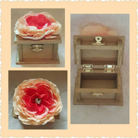 Beautiful Gold Wedding Ring BOx with Soft Blush Peach and Coral Flower with Rhinestone