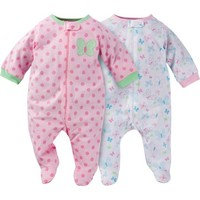 Gerber Newborn Baby Girl Zip Front Sleep N Plays, 2-Pack - Walmart.com