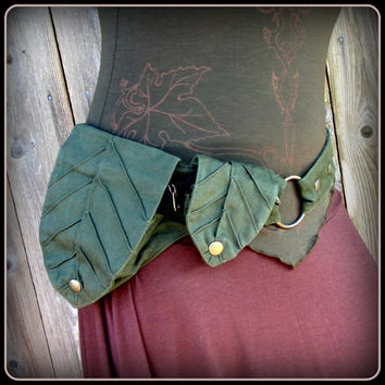 Green Leaf Pocket Belt ~ Utility Belt ~ Green Man Elf Forest ~ canvas fabric ~ Adustable from Small to Extra Large ~ unisex