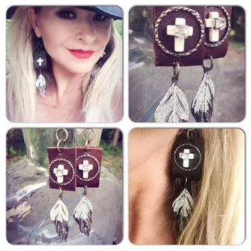 Leather feather earrings, boho country chic jewelry, True Rebel Clothing