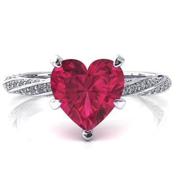 Elysia Heart Ruby 5 Prong 3/4 Eternity Diamond Accent Ring