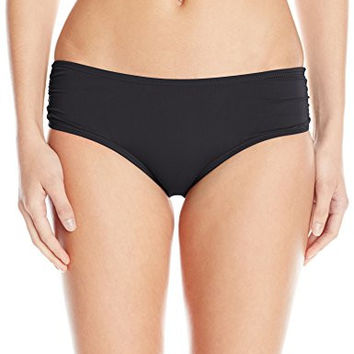 COCO REEF Women's Master Classic Side Shirred Bikini Bottom, Cast/Black, Small