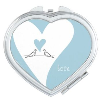 Cute White Doves in Love Personalized Heart-Shaped Girly Compact Mirror Gifts for Her: Love: Birthday, Valentine's Day,  or Wedding Gift