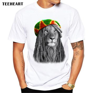 New 2017 Summer Animal Special Fashion Lion King T Shirt Men's High Quality KING RAGGAE Tops Male Hipster Tees pa765