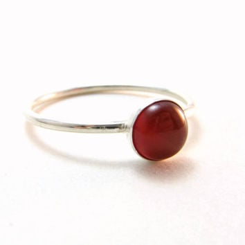 Red Carnelian Sterling Silver Stacking Ring Gemstone Stacker Ring Ready To Ship Size 8.5 Red Gemstone Ring BooBeads Handmade Jewelry