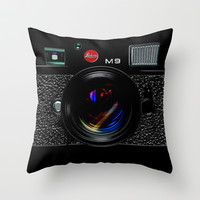 Classic retro Black Leica M9 vintage camera Throw Pillow case by Three Second